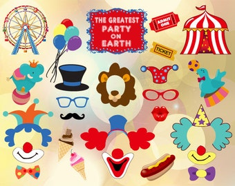 Printable Carnival Party Photo Booth Props, Circus Clown Photo Booth Props, Circus Party Digital PhotoBooth Props, Clown Party Props, 0373