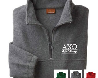 Alpha Chi Omega // A Chi O // Sorority Embroidered Fleece Quarter Zip Jacket // Pullover