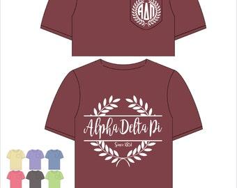 Alpha Delta Pi // A D Pi // Sorority Comfort Color Pocket Tee (Nobilis)  Short Sleeve Tshirt // Greek Apparel // Choose Your Color