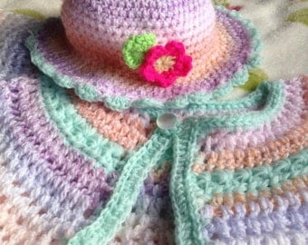 Handmade Crochet Hat and Cardie set for baby girls