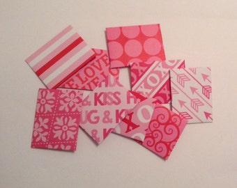 Pink mini envelopes, Valentine's Day mini cards, patterned, love notes, hearts, bridal shower, scrap booking, lunch box note, tiny envelopes