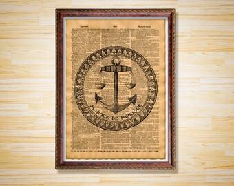 Vintage Sea decor French Anchor print Nautical poster