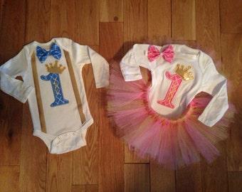 Prince and Princess Twins Matching Birthday Outfit Set