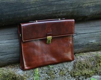 Leather Business Bag, Leather Briefcase, Brown Leather Bag, Laptop Bag, Leather Messenger Bag, Leather Bag, Shoulder Bag - Moonheart