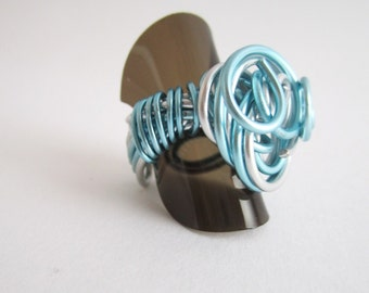 adjustable wire fancy ring aluminum silver and ice blue