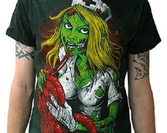 T Shirt Zombie Nurse  EMO GOTH HORROR Size X L