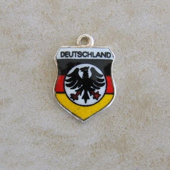 Deutschland Germany Enamel Travel Shield Silver Plated Bracelet Charm Vintage