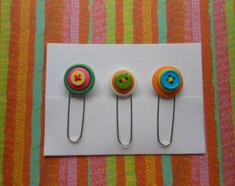 Button Paperclip Set, Neon Colors Set 4, Paperclip Bookmark, Button Bookmark