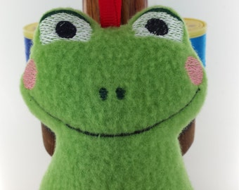 Cute Frog Decoration Handmade with Embroidered detail Rosy Cheeks For All Celebrations Crafted From Soft Grass Green Fleece