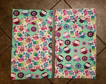 Little Owls Baby Bundle -- Bibs, Burp Cloths, Paci Clips Bandana/Drool Bibs