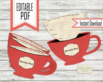 EDITABLE and PRINTABLE Alice in wonderland tea party instant download