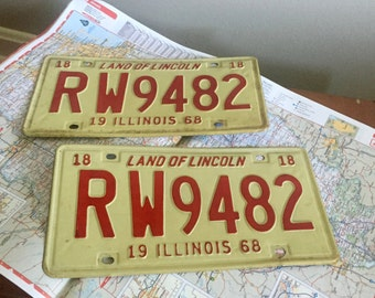 Vintage License Plates - Set of License Plates - Red and White License Plates - 1968 License Plates - Illinois License Plates