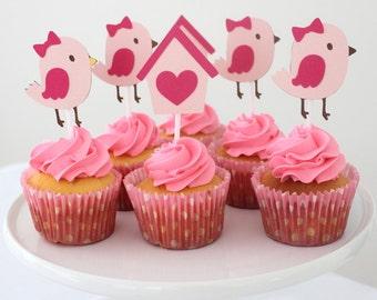 12 x Bird Cupcake toppers - Bird and Birdhouse, Baby Shower, Birthday, Girl, Pink