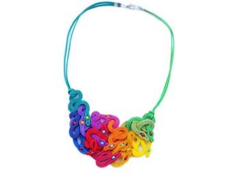 Rainbow Snakes - Soutache  necklace in rainbow colors. OOAK !!! Collana soutache, colier soutache.