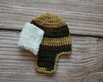 Crochet Hat - Aviator Newborn Hat - 3 sizes - Newborn - Baby - Visor hat - Photo Prop Set - Photography Prop