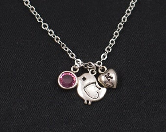 bird necklace, initial necklace, birthstone necklace, silver bird charm, little bird charm pendant, baby bird necklace, new mom gift, baby