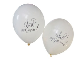 Balloons | Just Married Balloons | Wedding Balloons | White Wedding Balloons | Just Married | 10 Balloons per Pack
