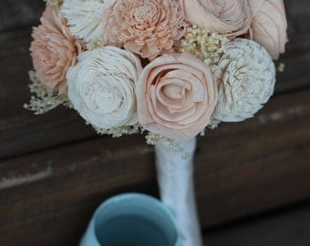 Peach and cream bouquet, sola bouquet, wedding bouquet