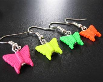 Fluorescent butterfly earring