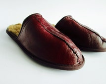 Men slippers, leather slippers, lamb leather