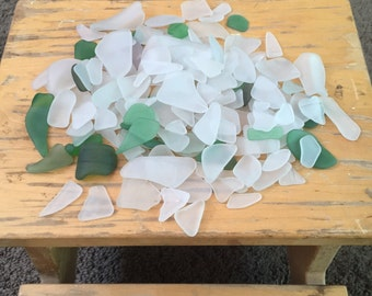 Tumbled mosaic Beach Glass man made sea glass Lot of 145 green and white pieces pale aqua recycled glass diy pendant jewelry supply