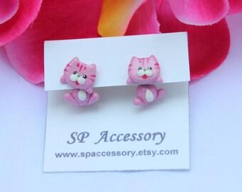 cat earrings, Cat clay earrings, pink cat, yellow cat, stud earring, clay earrings, cat stud