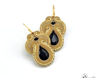 Elegant Gold Black Earrings, Soutache Earrings, Handmade Earrings, Gold Earrings, Soutache Jewelry, Unique Earrings, Medium Earrings