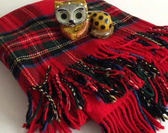 Vintage Wool Fringe Red Plaid Lap Throw Blanket by Jenners