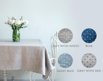 Softened linen tablecloth with polka dots for your dinning table
