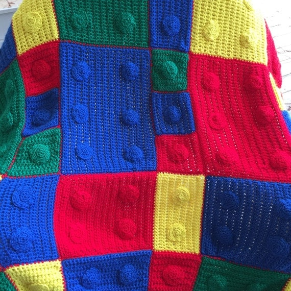 Crochet Lego Blanket : Lego afghan by SimplySouthernCroche on Etsy