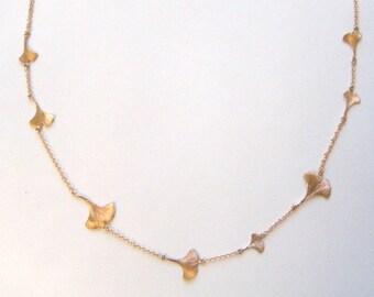 rose gold ginkgo leaf necklace