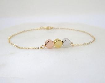 Hand stamped dot  Bracelet, Bridesmaid personalized  jewelry, dainty Initial bracelet