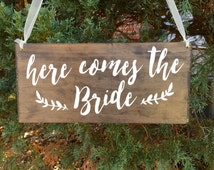 Here comes the Bride, flower girl sign, ring bearer sign, laurel, rustic wedding signage, rustic sign, rustic wooden sign, custom wood sign