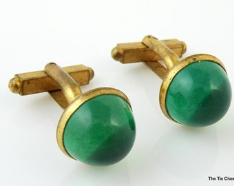 Vintage 1940s Cufflinks Green Cabochon Gold Tone