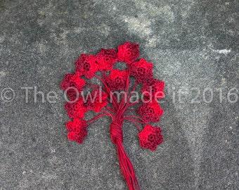 Crochet applique, small flower applique, embellishments, Christmas, festive, scrapbook, craft supplies, wedding supplies, UK seller