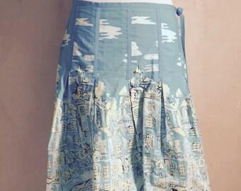 Blue print knee length cotton Kenzie skirt, size 8