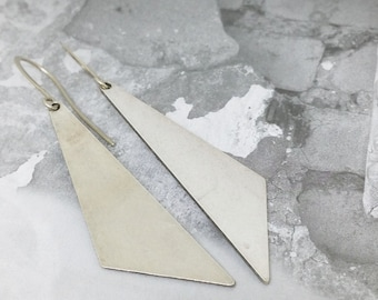 Silver triangles earrings, Triangles earrings, Dangle triangles earrings, Large silver earrings, Boho chic earrings, Geometric earrings