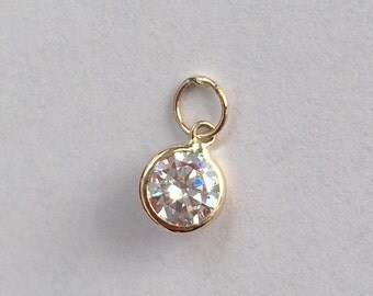 14k solid gold and cubic zirconia charm, pendant, cz