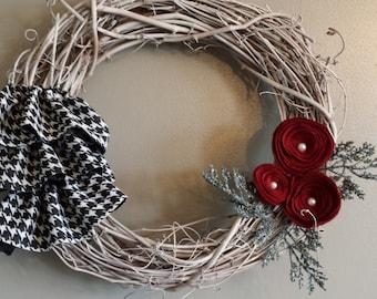 Houndstooth Ruffle Burgundy Rosette Wreath