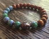 Stackable Mala Inspired Blue and Green Ocean Jade, Natural Redwood + Buddha Yoga and Meditation Bracelet