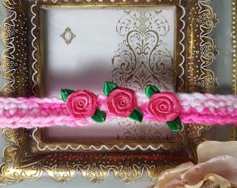 Baby Girl Headband Pink Girl Headband With Flowers, Headband,