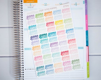 60 Game Night Stickers  | Planner Stickers designed for use with the Erin Condren Life Planner | 0704
