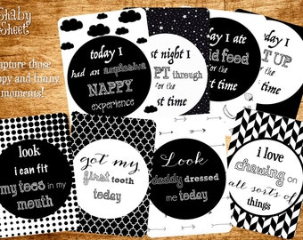 Funny Baby Milestone Cards Monochrome - Black White - Set of 16 or 24
