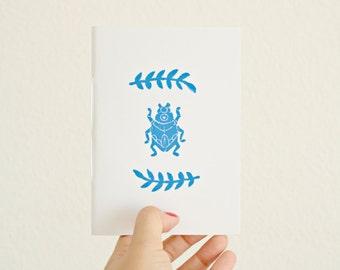 Beetle Notebook * Insect Journal * Pocket Notebook * Wedding Favor Gift * Small Blue Notebook  * Entomology  * Minimalist * Small Journal