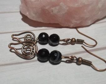 Black Banded Agate Gemstone & Copper Spiral Earrings, Black Agate Gemstone Earrings, Gemstone Copper Spiral Boho Earrings