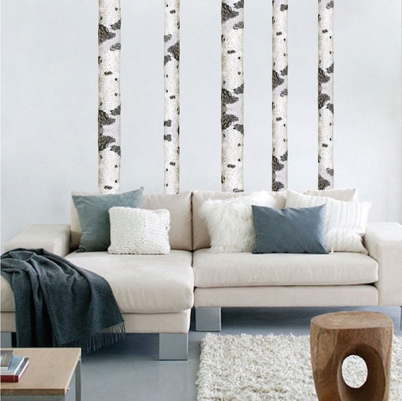 Peel and stick birch tree trunk wall decal sticker by - Birch tree wallpaper peel and stick ...