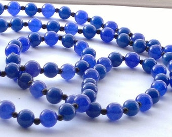 Natural Blue Sapphire / Black Agate Gemstones Beads Long Necklace