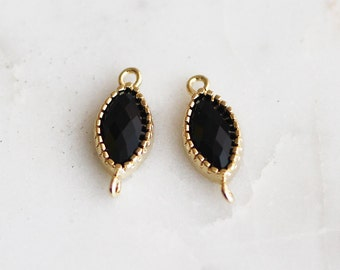 A2-183-G-BK] Black / 6 x 10mm / Gold plated / Marquise Glass Pendant / 2 piece(s)
