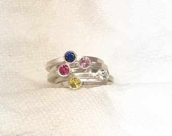 Bezel Ring, Stacking Rings, Stackable Rings, Birthstone Rings, Stacking Birthstone Rings, Silver Stacking Rings, Mother's Day