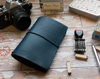 MIDORI Cover, Leather Travelers Notebook, Midnight Blue Edition, Field Note